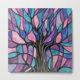 Mystic Tree of Life Mosaic Purples Watercolor Metal Print
