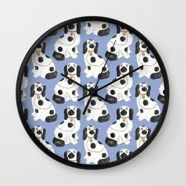 Staffordshire Dog Figurines No. 2 in Dusty French Blue Wall Clock