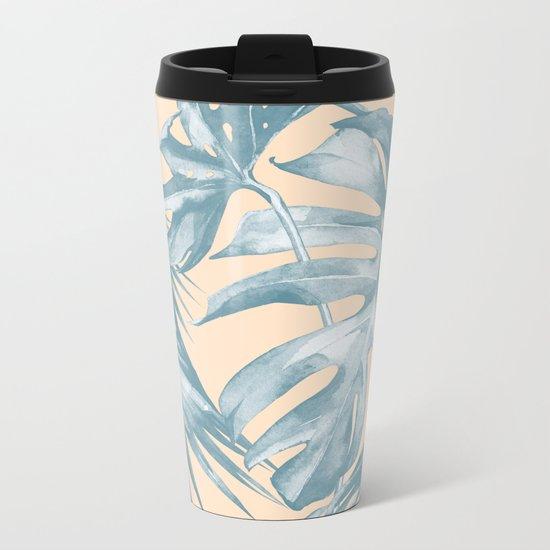 Tropical Leaves Ocean Blue on Citrus Metal Travel Mug
