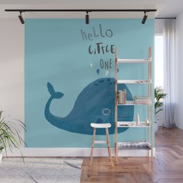 Hello Little One (Blue) Wall Mural