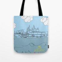 zissou Tote Bags featuring Zissou Boat by Jarom Ward