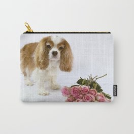 Cavalier King Charles Spaniel With Pink Roses Carry-All Pouch