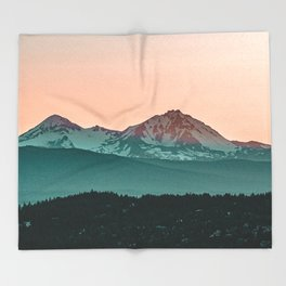 Grainy Sunset Mountain View // Textured Landscape Photograph of the Beautiful Orange and Blue Skies Throw Blanket