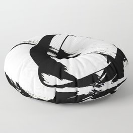 Brushstroke 7: a minimal, abstract, black and white piece Floor Pillow