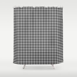 Small Black Christmas Gingham Plaid Check Shower Curtain
