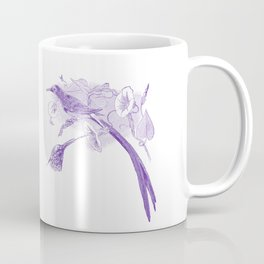 Vintage Purple and White Drawing of African Sunbirds Coffee Mug