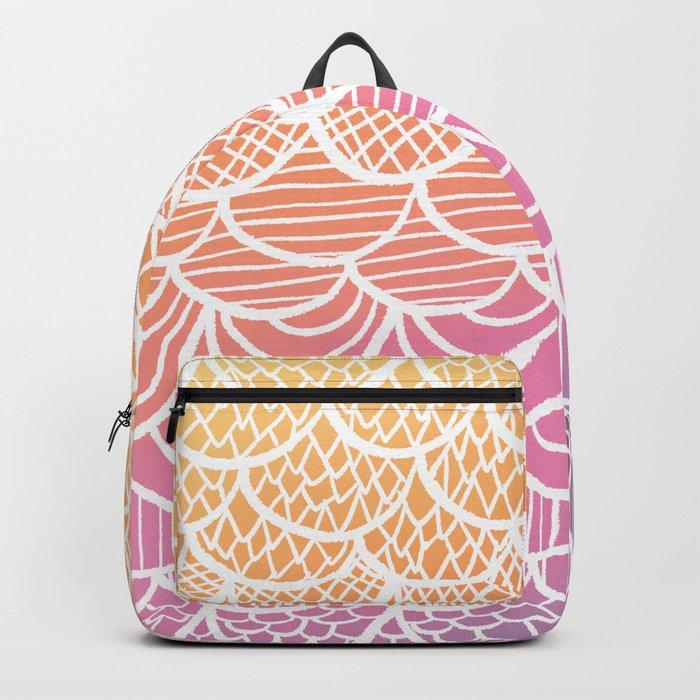 Modern hand drawn summer geometric mermaid scallop pink orange ombre watercolor Backpack