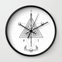 deathly hallows Wall Clocks featuring Deathly Hallows (White) by Mírë