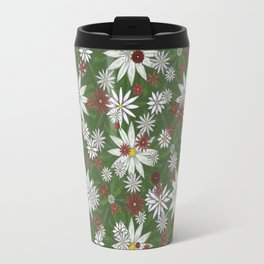 White and Red Flower Pattern on Green Background Travel Mug