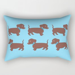 Brown Dachshund with Blue Bow Pattern Art Rectangular Pillow