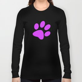 Tiny Paw Prints Pattern - Bright Magenta and White Long Sleeve T-shirt