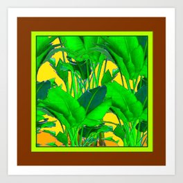 COFFEE BROWN TROPICAL GREEN & GOLD FOLIAGE ART Art Print