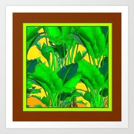 COFFEE BROWN TROPICAL GREEN & GOLD FOLIAGE ART Art Print