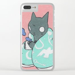 Cat Drinking Warm Tea Clear iPhone Case