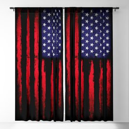 Vintage American flag on black Blackout Curtain