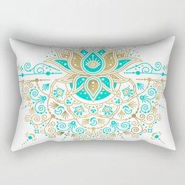Sacred Lotus Mandala – Turquoise & Gold Palette Rectangular Pillow