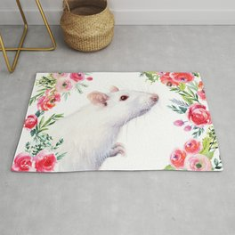 White Rat with Flowers Watercolor Floral Pattern Animal Rug