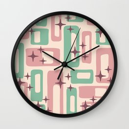 Retro Mid Century Modern Abstract Pattern 222 Dusty Rose and Pastel Green Wall Clock