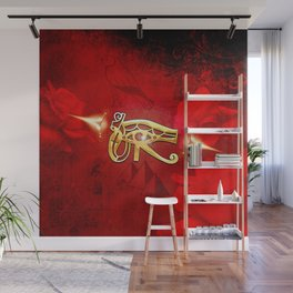 The all seeing eye, golden colors Wall Mural