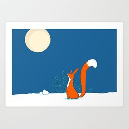 The fox and the moon Art Print