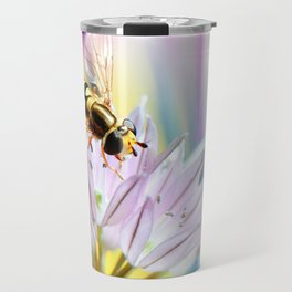 Hover fly and chive blossom Travel Mug