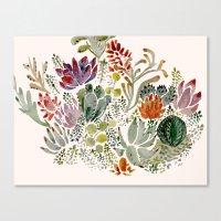 succulents Canvas Prints featuring Succulents  by Hannah Margaret Illustrations