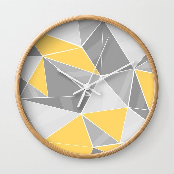 Pattern, grey - yellow Wall Clock