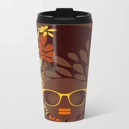 Afro Diva : Sophisticated Lady Retro Brown Travel Mug
