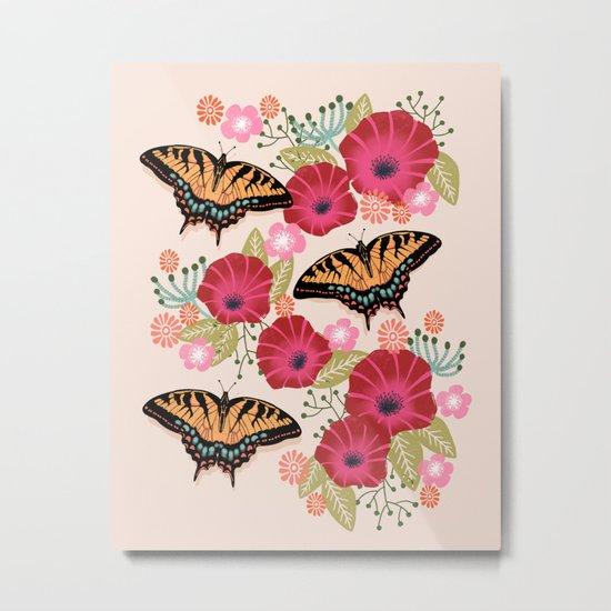 Swallowtail Florals by Andrea Lauren  Metal Print