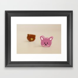 Little rabbit and bear head Framed Art Print