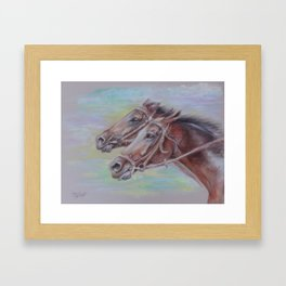Horse Racing, Portrait of two brown horses, Pastel drawing on gray background Framed Art Print