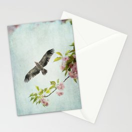 Bird and Flowering Branch Stationery Cards