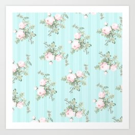 Shabby chic roses pink and mint Art Print