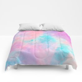 Bright pink turquoise unicorn watercolor paint background Comforters