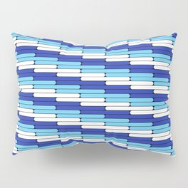 Staggered Oblong Rounded Lines Blues and White - Stripe Pattern Pillow Sham