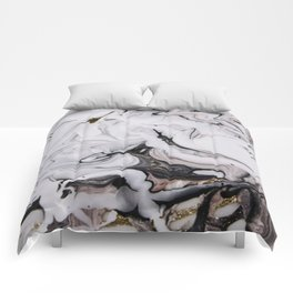 Elegant dark swirls of marble Comforters
