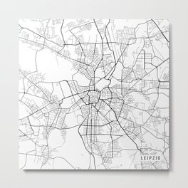 Leipzig Map, Germany - Black and White Metal Print