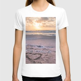 Love note Te Amo with the heart drawing on the beach at sunrise T-shirt