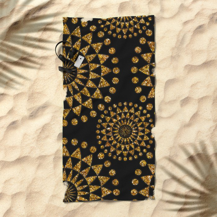 Gold glamour faux glitter ornament shimmering black Beach Towel