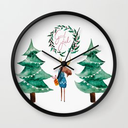 Moose with Christmas present  Wall Clock