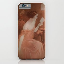 Women in red dress reading a letter iPhone Case