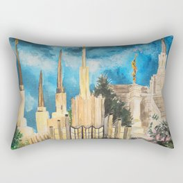 Zion's LDS Temples Painting Rectangular Pillow