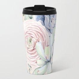 Pretty Pink Succulents Garden Travel Mug