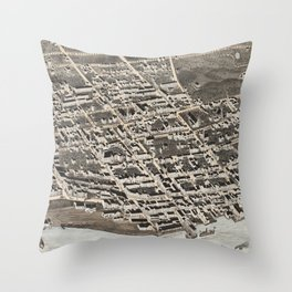 Vintage Pictorial Map of Newburgh New York (1875) Throw Pillow