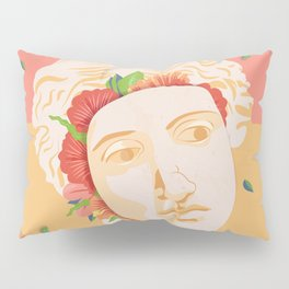 Abstract greek head with flower patterns Pillow Sham