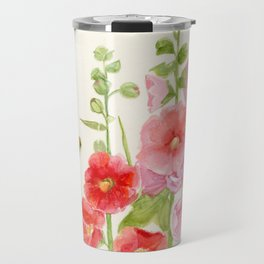 Watercolor Flower Pink Hollyhock and Bee Travel Mug
