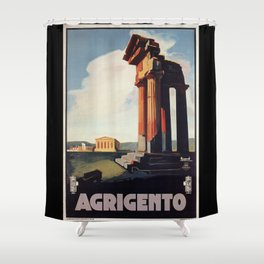 Vintage 1920s Agrigento Italian travel ad Shower Curtain