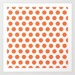 Orange and White Polka Dots 771 Art Print