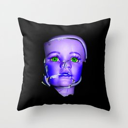 Freaky Halloween Broken Doll Zombie Face Purple Throw Pillow