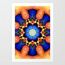 Orange Mosaic Abstract Art Print